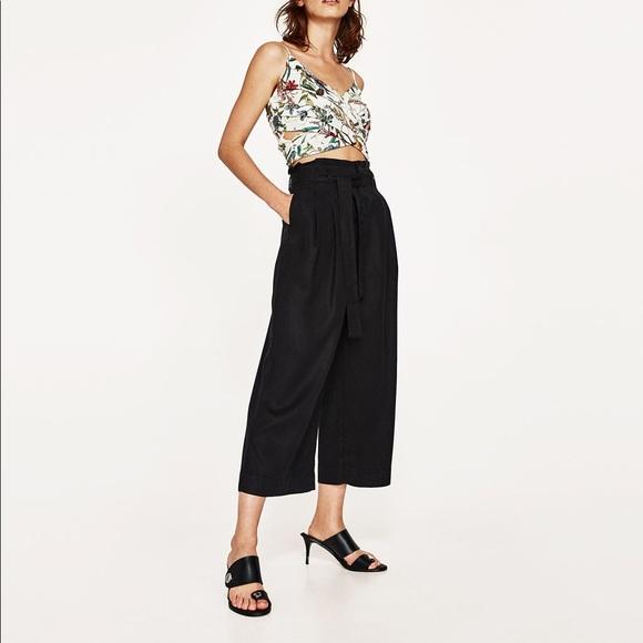 ff12bd04 Zara Pants | Nwt Black Paperbag Waist Culottes Ankle | Poshmark